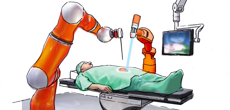 When the vision becomes reality: Robots take over the OR as fully automated surgeons. Illustration: Porsche Consulting/Jan Rieckhoff