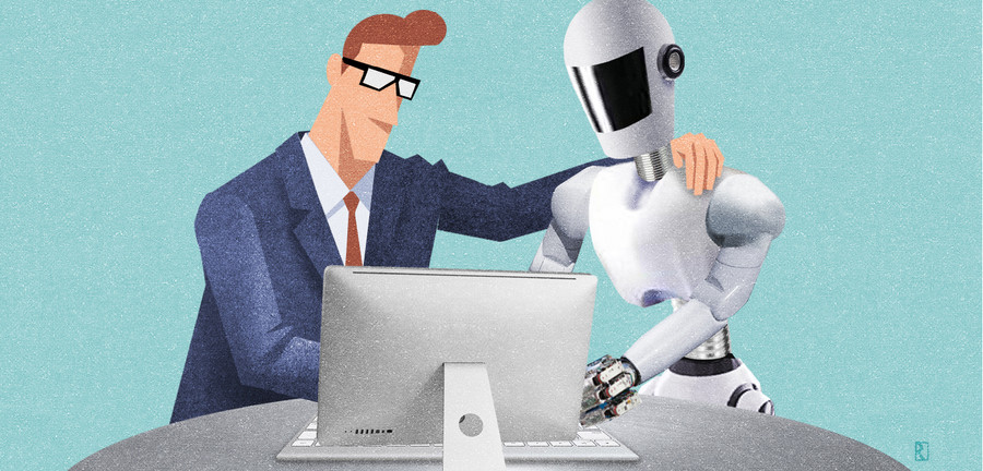 Working with robots? A survey from Porsche Consulting finds that familiarity with digitization breaks the ice.<br>Illustration: Jan Rieckhoff for Porsche Consulting.